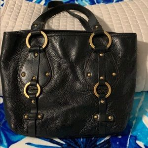 Real soft leather purse with gold metal detail